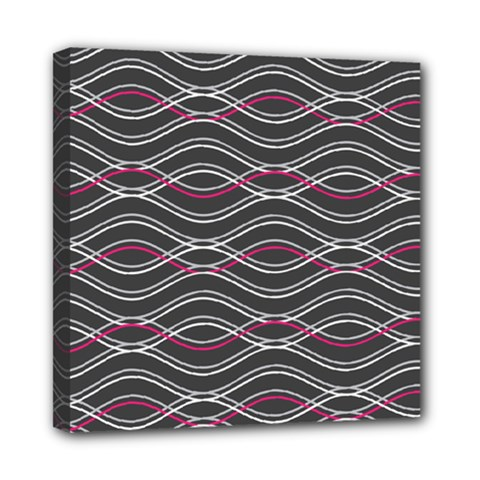Black And Pink Waves Pattern Mini Canvas 8  x 8  (Framed)