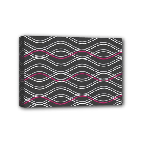 Black And Pink Waves Pattern Mini Canvas 6  x 4  (Framed)