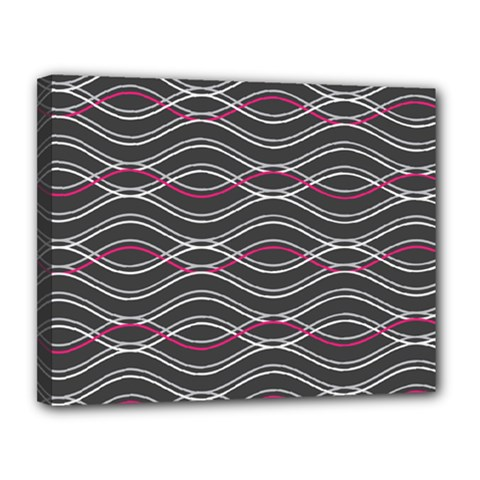 Black And Pink Waves Pattern Canvas 14  X 11  (framed)