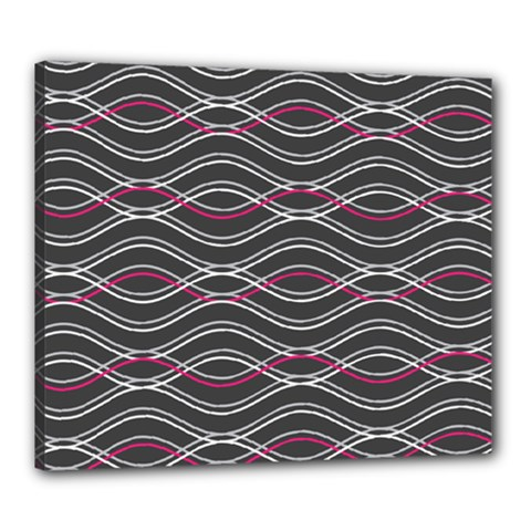 Black And Pink Waves Pattern Canvas 24  x 20  (Framed)
