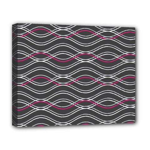 Black And Pink Waves Pattern Deluxe Canvas 20  X 16  (framed)