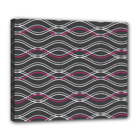 Black And Pink Waves Pattern Deluxe Canvas 24  x 20  (Framed)