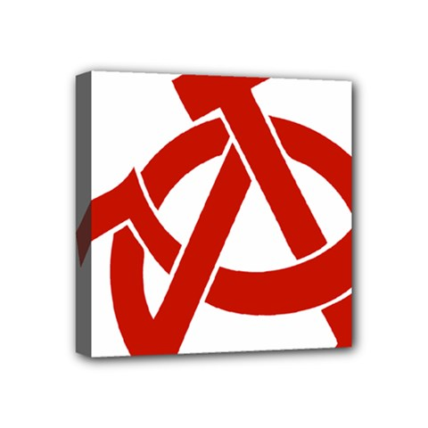 Hammer Sickle Anarchy Mini Canvas 4  x 4  (Framed)