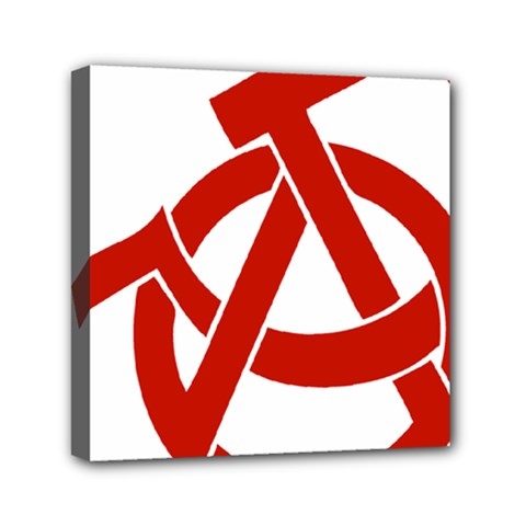 Hammer Sickle Anarchy Mini Canvas 6  x 6  (Framed)