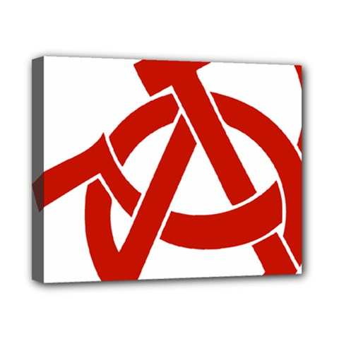 Hammer Sickle Anarchy Canvas 10  X 8  (framed)