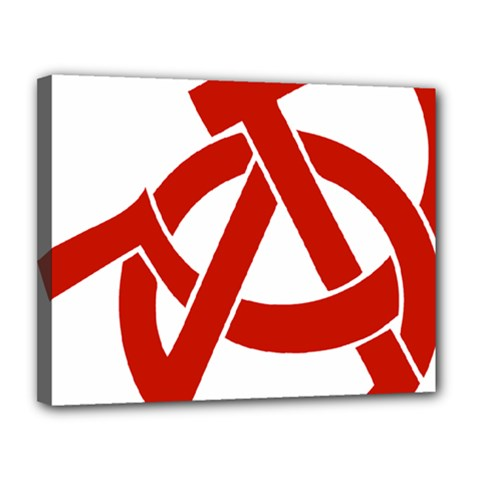 Hammer Sickle Anarchy Canvas 14  x 11  (Framed)