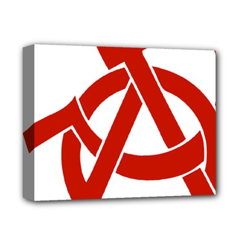 Hammer Sickle Anarchy Deluxe Canvas 14  X 11  (framed)