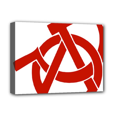 Hammer Sickle Anarchy Deluxe Canvas 16  x 12  (Framed)