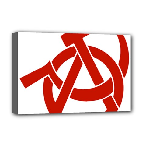 Hammer Sickle Anarchy Deluxe Canvas 18  x 12  (Framed)