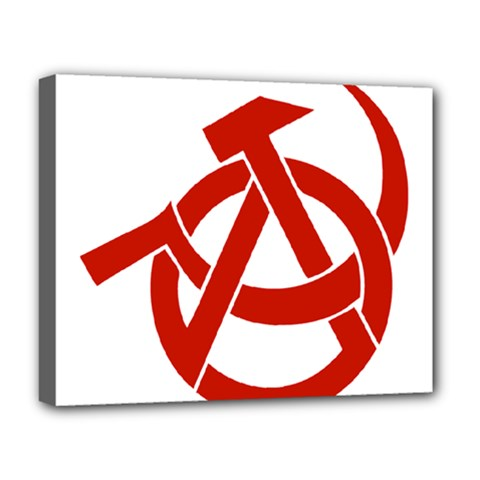 Hammer Sickle Anarchy Deluxe Canvas 20  x 16  (Framed)