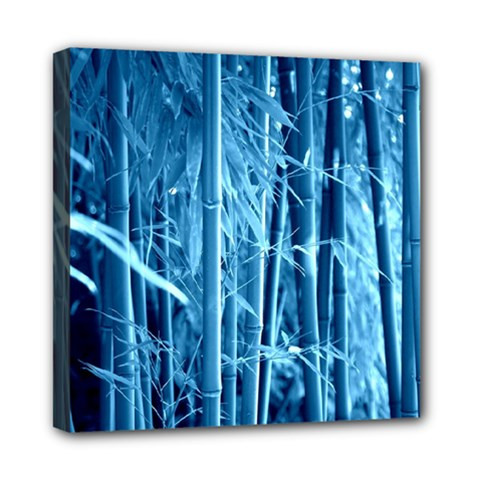 Blue Bamboo Mini Canvas 8  x 8  (Framed)