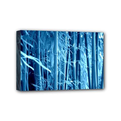Blue Bamboo Mini Canvas 6  X 4  (framed)