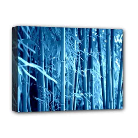 Blue Bamboo Deluxe Canvas 16  X 12  (framed)