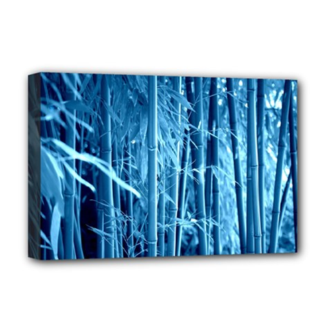Blue Bamboo Deluxe Canvas 18  x 12  (Framed)