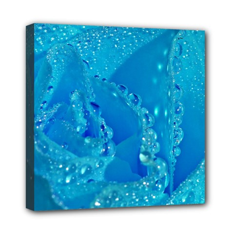 Blue Rose Mini Canvas 8  X 8  (framed)