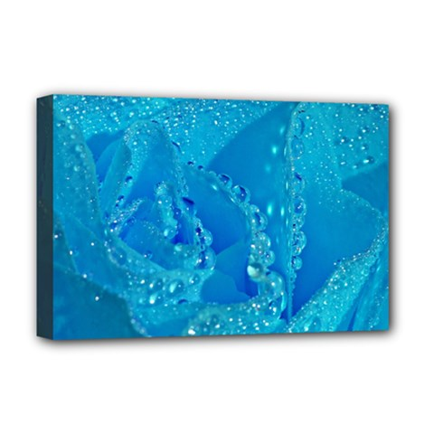 Blue Rose Deluxe Canvas 18  X 12  (framed)