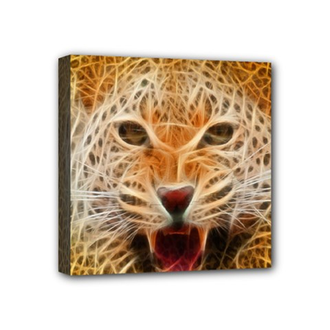 Electrified Fractal Jaguar Mini Canvas 4  x 4  (Stretched)