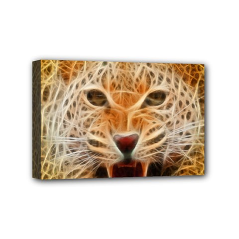 Electrified Fractal Jaguar Mini Canvas 6  x 4  (Stretched)