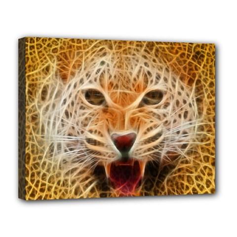 Electrified Fractal Jaguar Canvas 14  x 11  (Stretched)