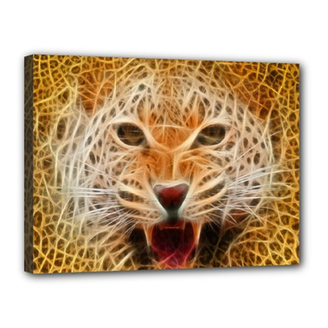 Electrified Fractal Jaguar Canvas 16  x 12  (Stretched)
