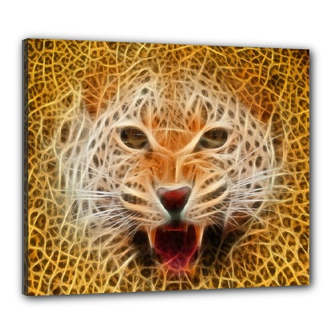 Electrified Fractal Jaguar Canvas 24  x 20  (Stretched)