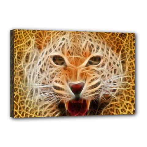 Electrified Fractal Jaguar Canvas 18  x 12  (Stretched)