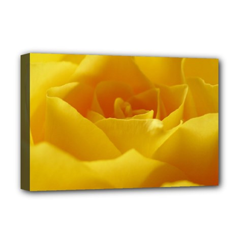 Yellow Rose Deluxe Canvas 18  x 12  (Framed)