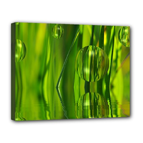Green Bubbles  Canvas 14  x 11  (Framed)