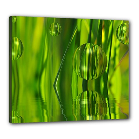 Green Bubbles  Canvas 24  X 20  (framed)