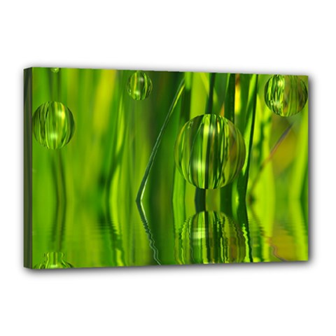 Green Bubbles  Canvas 18  x 12  (Framed)