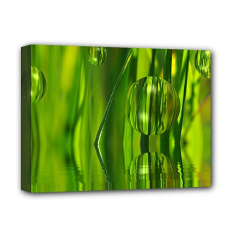 Green Bubbles  Deluxe Canvas 16  x 12  (Framed)