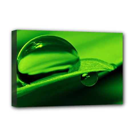 Green Drop Deluxe Canvas 18  X 12  (framed)