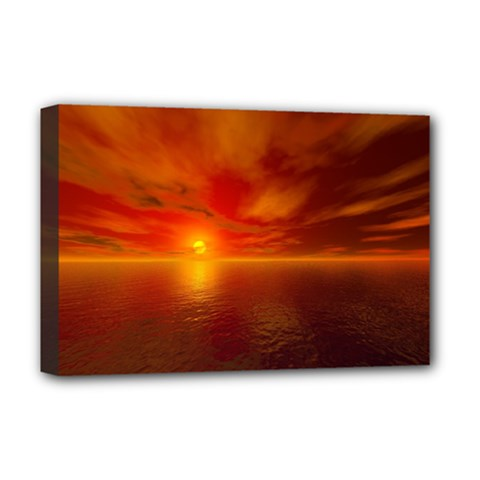 Sunset Deluxe Canvas 18  x 12  (Framed)