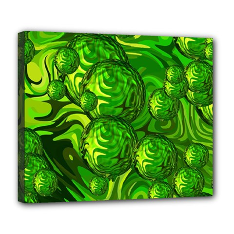 Green Balls  Deluxe Canvas 24  x 20  (Framed)