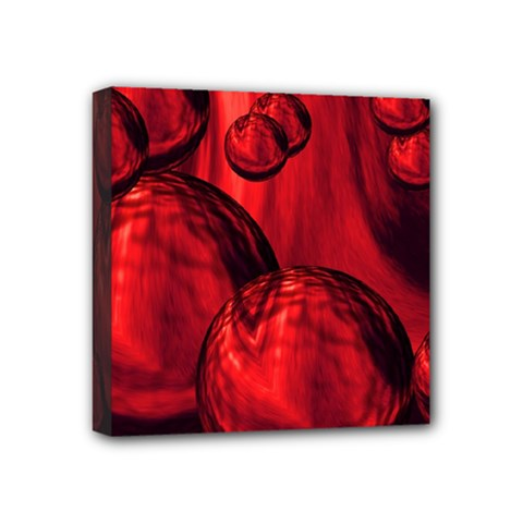 Red Bubbles Mini Canvas 4  x 4  (Framed)