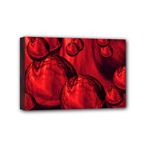 Red Bubbles Mini Canvas 6  x 4  (Framed)