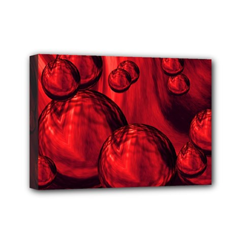 Red Bubbles Mini Canvas 7  x 5  (Framed)