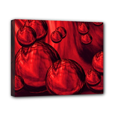 Red Bubbles Canvas 10  x 8  (Framed)