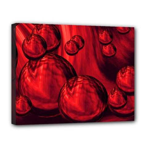 Red Bubbles Canvas 14  x 11  (Framed)