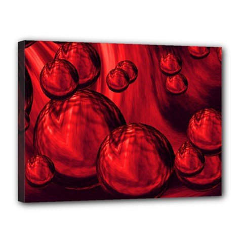 Red Bubbles Canvas 16  X 12  (framed)