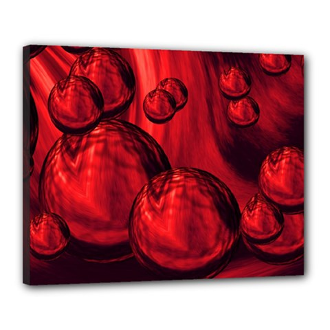 Red Bubbles Canvas 20  x 16  (Framed)