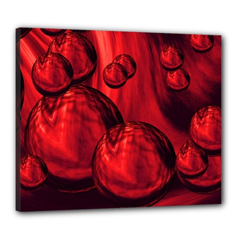 Red Bubbles Canvas 24  x 20  (Framed)