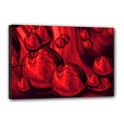 Red Bubbles Canvas 18  X 12  (framed)