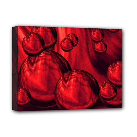 Red Bubbles Deluxe Canvas 16  X 12  (framed)