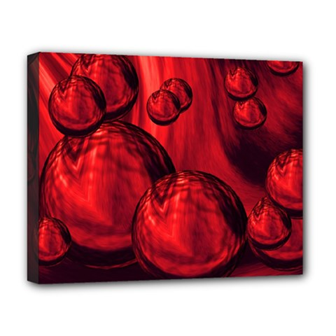 Red Bubbles Deluxe Canvas 20  X 16  (framed)