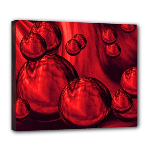 Red Bubbles Deluxe Canvas 24  x 20  (Framed)