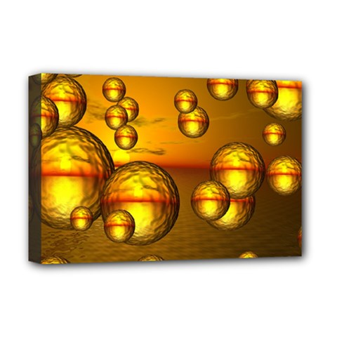 Sunset Bubbles Deluxe Canvas 18  x 12  (Framed)