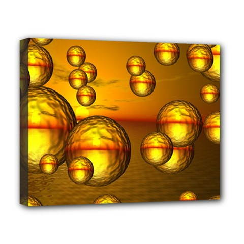 Sunset Bubbles Deluxe Canvas 20  x 16  (Framed)