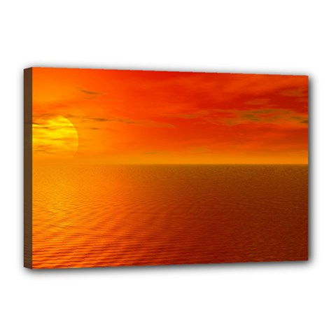 Sunset Canvas 18  x 12  (Framed)