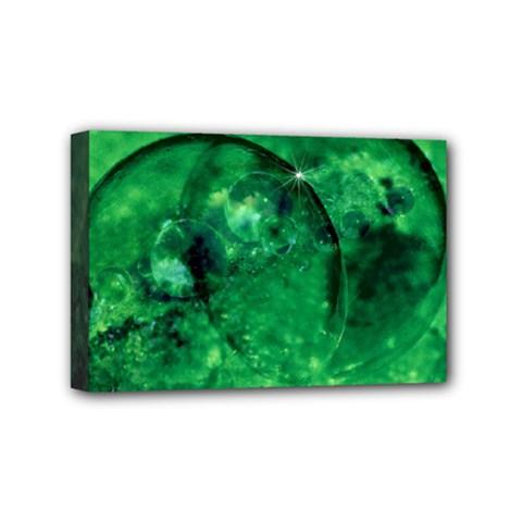 Green Bubbles Mini Canvas 6  X 4  (framed)